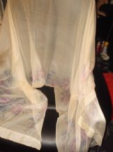 "LADIES GENUINE VINTAGE SILK SCARF SHAWL CREAM WITH LAVENDER ROSES 42"" X 88"""